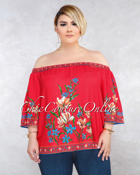 Cleopatra Red Floral Print CURVACEOUS Top