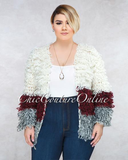 Yeti Ivory Block Color Crochet CURVACEOUS Fury Jacket