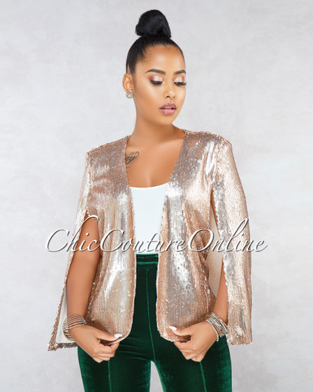 Espara Blush Sequins Luxe Cape Jacket