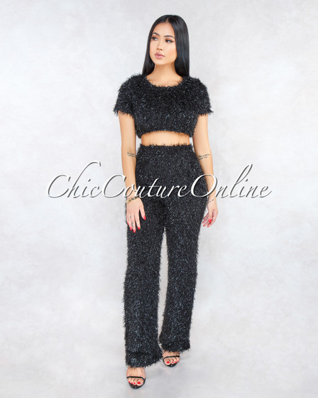 Sonda Black Faux Shimmer Fur Two Piece Set