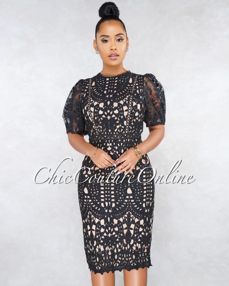 Spotlight Black Nude Illusion Crochet Midi Dress