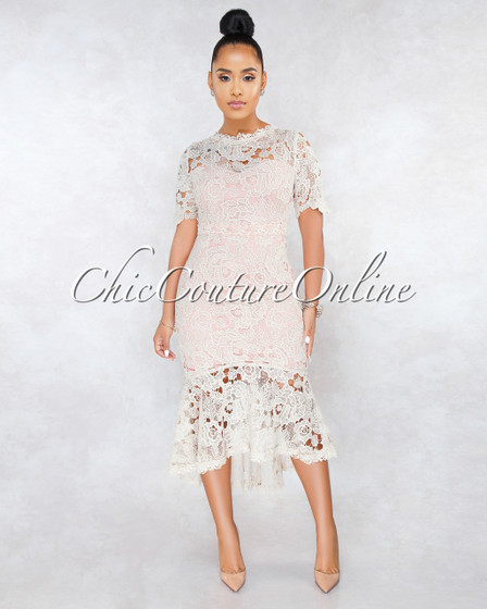 Enchanted Nude Pink Crochet High-Low Hem Dress