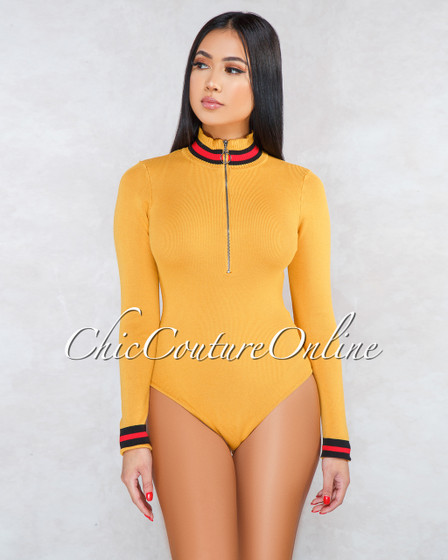 West Mustard Yellow Front Zipper Knit Bodysuit