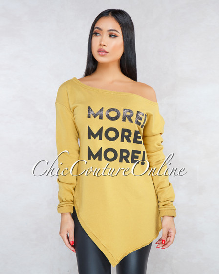 More Mustard Asymmetrical Hem Graphic Over-sized Sweater