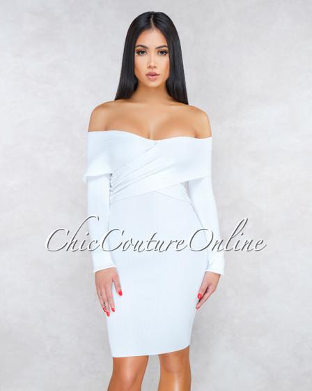 Camden Off-White Criss-Cross Top Knit Dress