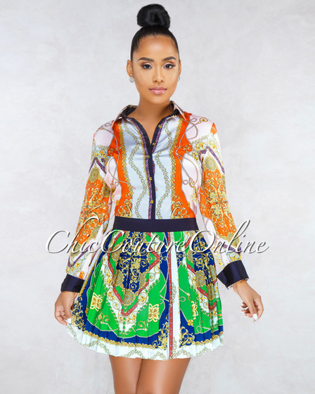 Chicago Multi-Color Print Pleated Skirt Satin Dress