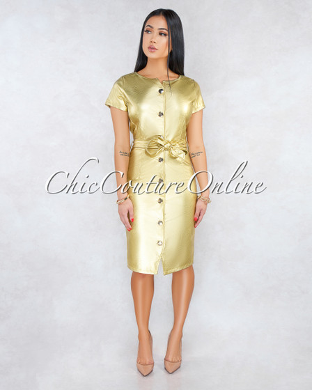 Garance Gold Faux Leather Gold Buttons Belted Dress