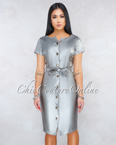 Garance Silver Faux Leather Belted Dress
