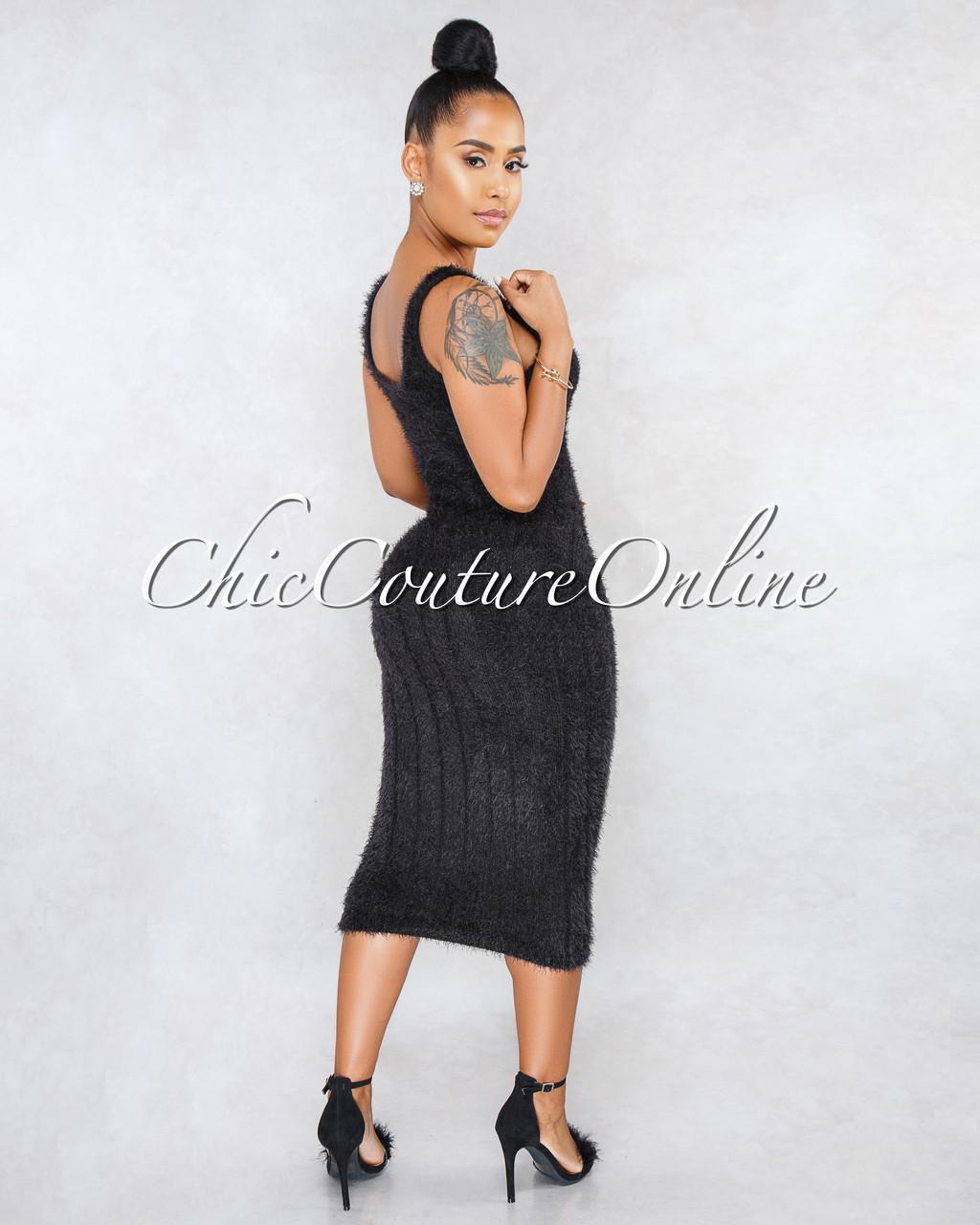 cd816f61526 Adeline Black Ribbed Fuzzy Midi Dress. Price   45.00. Image 1. Larger    More Photos