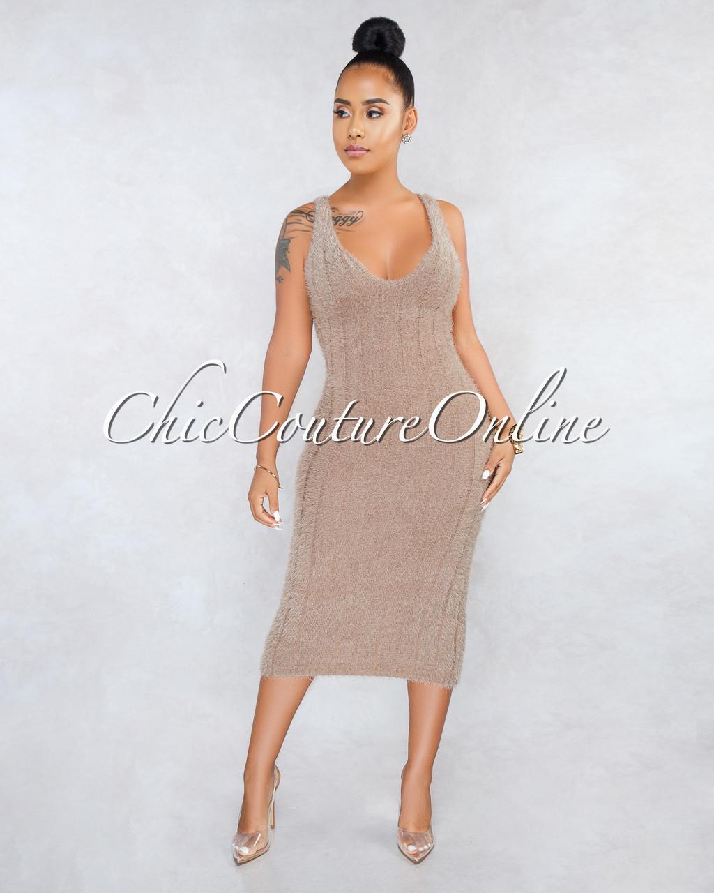 30cb00cf970 Adeline Mocha Ribbed Fuzzy Midi Dress. Price   45.00. Image 1