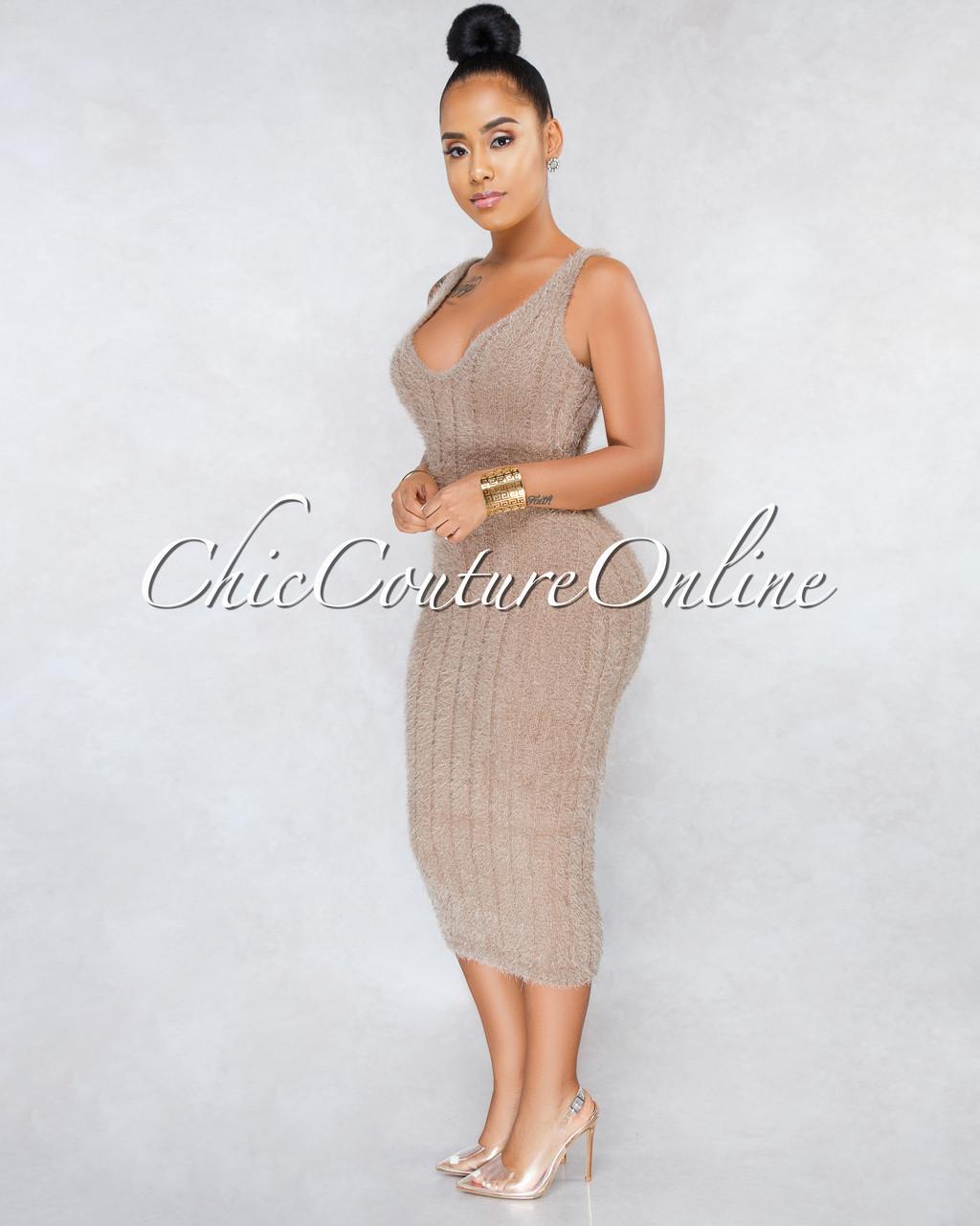 3a31b62ba26 Adeline Mocha Ribbed Fuzzy Midi Dress. Price   45.00. Image 1. Larger    More Photos