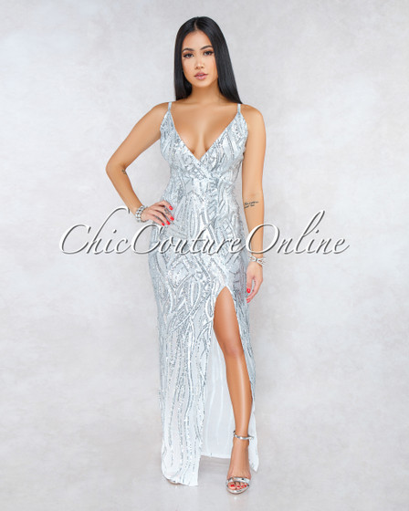 Yvana Silver Sequins Side Slit Maxi Dress