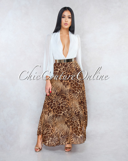 Kory Brown Animal Print Pleated Luxe Maxi Skirt