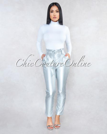 Sarani SIlver Paper Bag Belted Pants