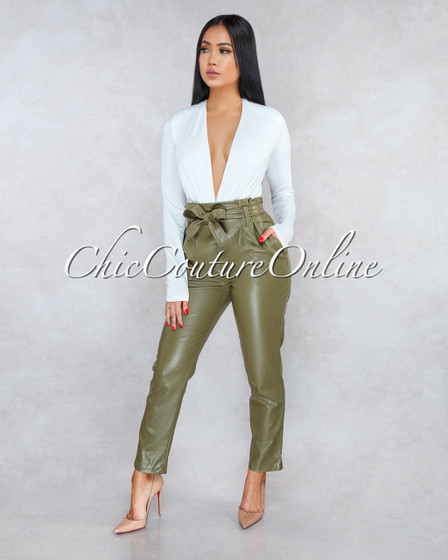 Sarani Granite Paper Bag Belted Pants