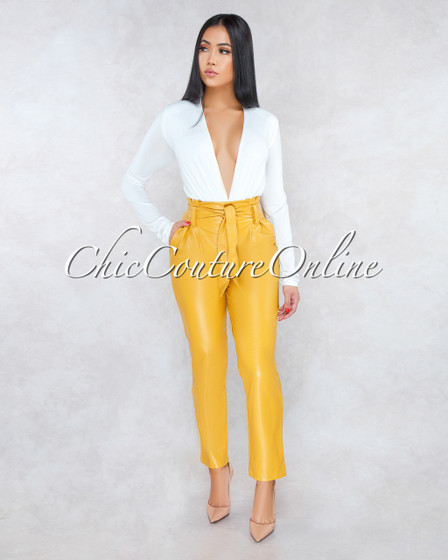 Sarani Mustard Yellow Paper Bag Belted Pants