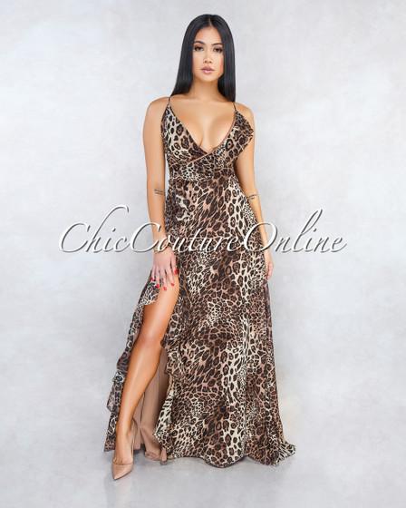 Carter Leopard Print Ruffle Details Slit Maxi Dress