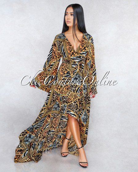 Karson Leopard Print Self-Tie Belt High-Low Maxi Dress