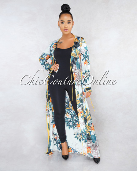 Zella Beige Leaf Print Yellow Trim Duster Wrap Dress
