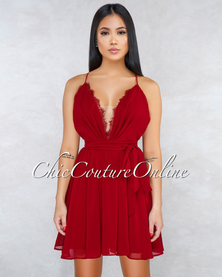 Marlenny Wine Red Overlay Lace Skater Dress