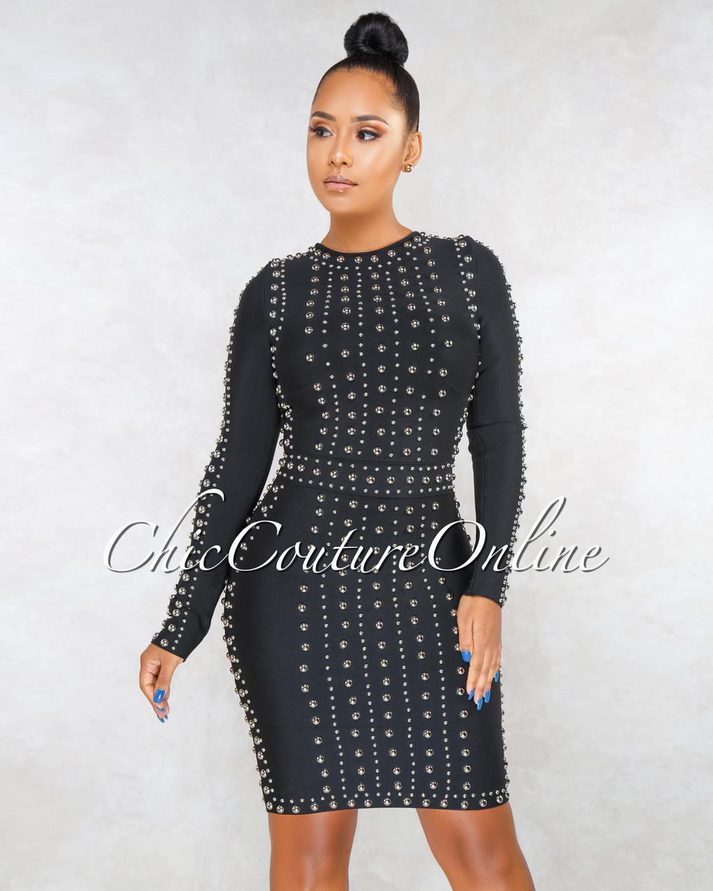 42b63d451471 Antigona Black Silver Studs Long Sleeves Bandage Dress