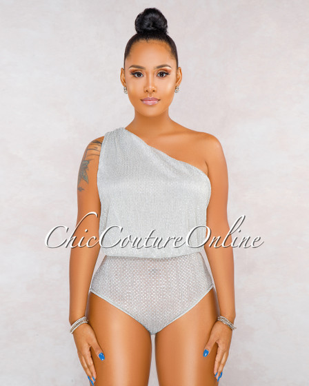 Shannon Silver Shimmer Single Sleeve Draped Bodysuit