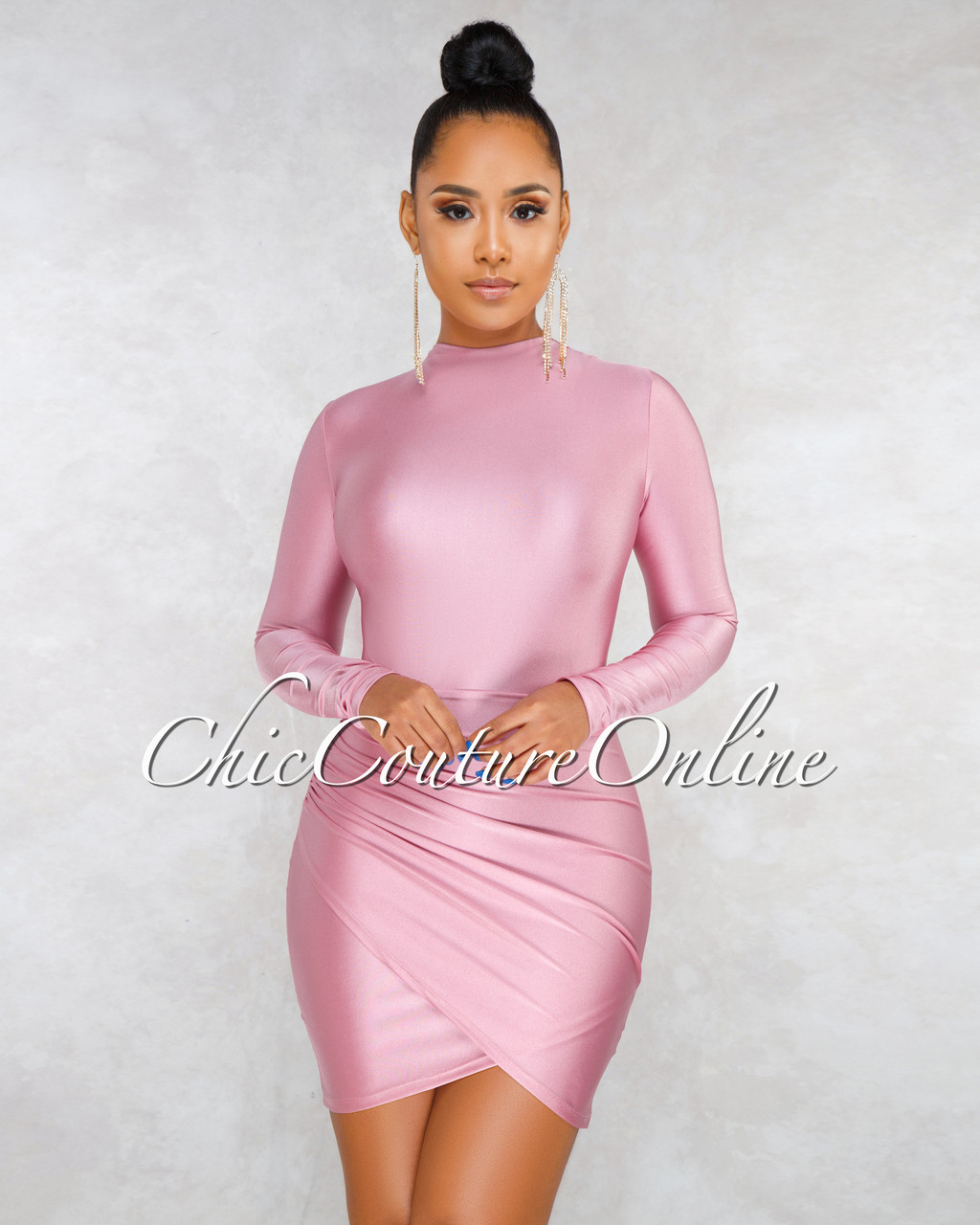 ddc07983117fc9 Fantasia Pink Draped Wrap Bottom Mini Dress