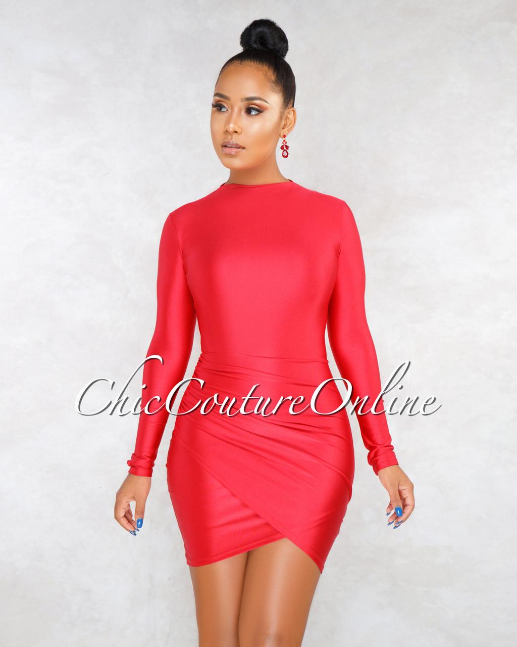 56a49559bec ... Fantasia Red Draped Wrap Bottom Mini Dress. Loading zoom