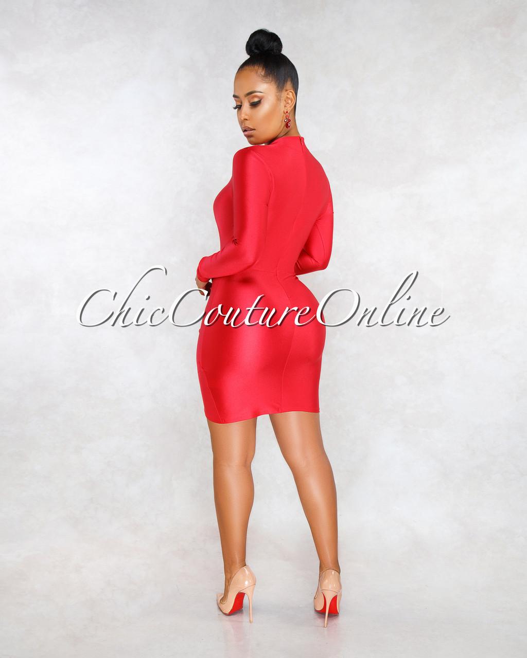 fa0daf95879 Fantasia Red Draped Wrap Bottom Mini Dress