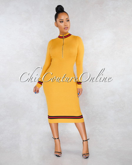 Torrix Mustard Black Stripes Front Zipper Knit Dress