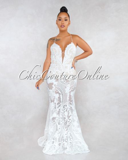 Montage White Crochet Nude Illusion Bodysuit Maxi Dress