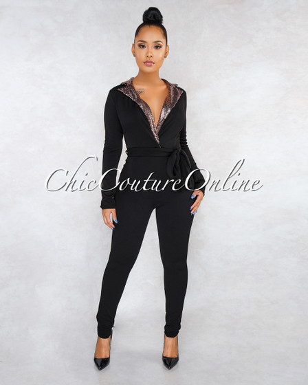 Catina Black Rose Gold Sequin Collar Trench Jumpsuit