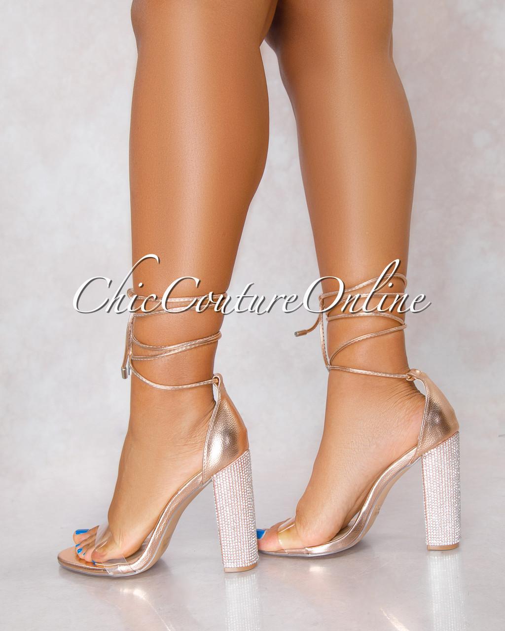 f689b4fcb24 ... Clear Strap Rhinestones Heel Lace Up Sandals. Price   50.00. Image 1
