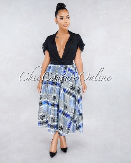 Morgan White Blue Plaid Pleated Midi Satin Skirt