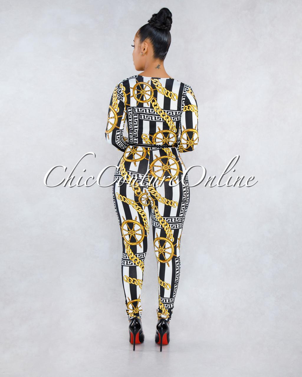 9c7403b1c155 Lorna White Black Stripes Gold Print Deep V Jumpsuit