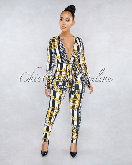 Lorna White Black Stripes Gold Print Deep V Jumpsuit