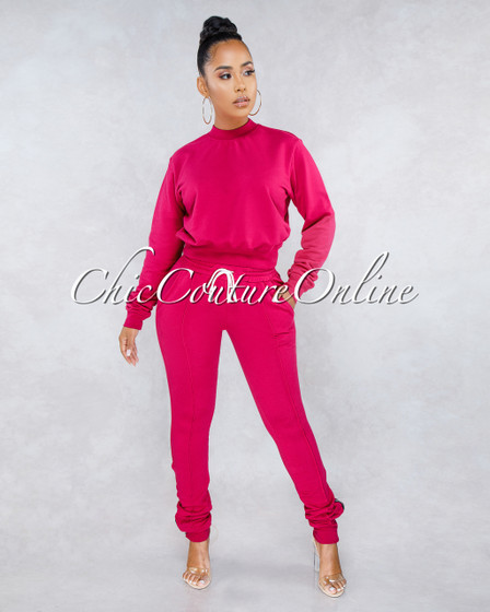 Luanda Fuchsia Sweat Pants Set