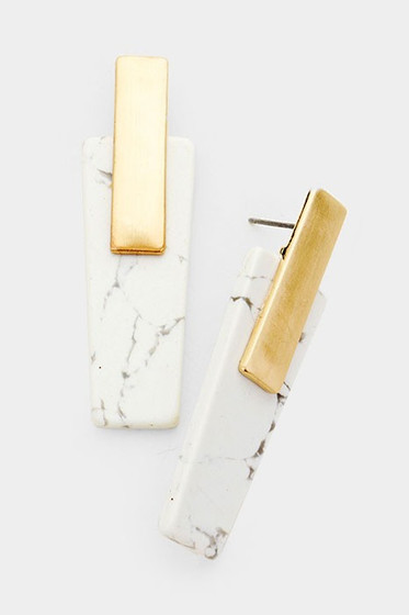 Stassia Gold & Howlite Stone Dangle Earrings