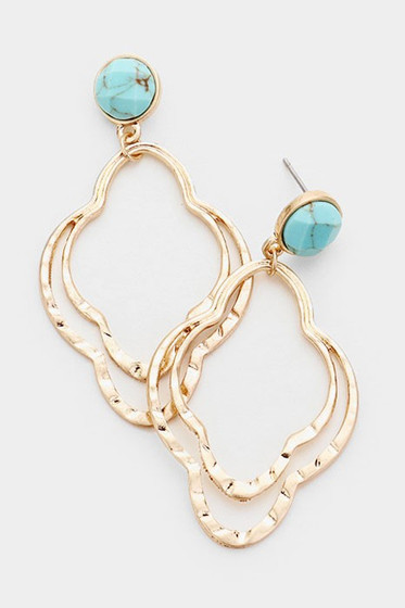 Royya Gold & Turquoise Drop Quatrefoil Earrings