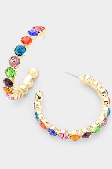 Teeny Multi Color Crystal Embellished Hoop Earrings