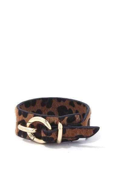 Lanna Hoop Buckle Leopard Print Leather Bracelet