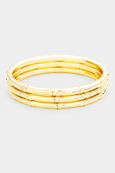 Elana Gold Multi Layered Textured Metal Bangles