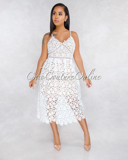 Taiko Off-White Crochet Nude Illusion Midi Dress