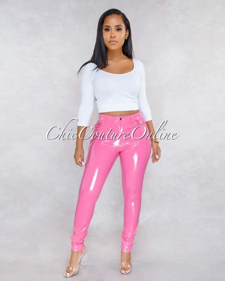 Eromy Pink Latex Mid Waist Trouser Pants