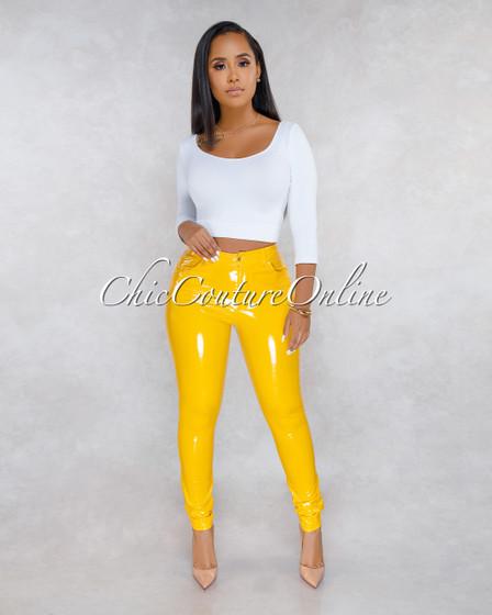 Eromy Yellow Latex Mid Waist Trouser Pants