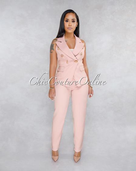 Giovanina Blush Double Breast Vest Two Piece Set