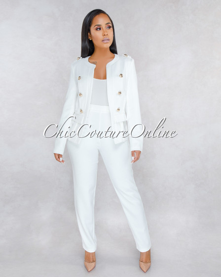 Khelani Ivory Gold Buttons Luxe Two Piece Set