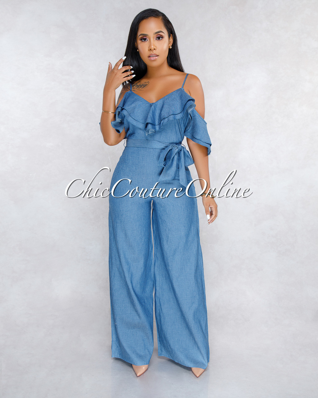 6f1a6c5a0600 Mejeane Dark Chambray Ruffle Cold Shoulder Jumpsuit. Price   50.00. Image 1