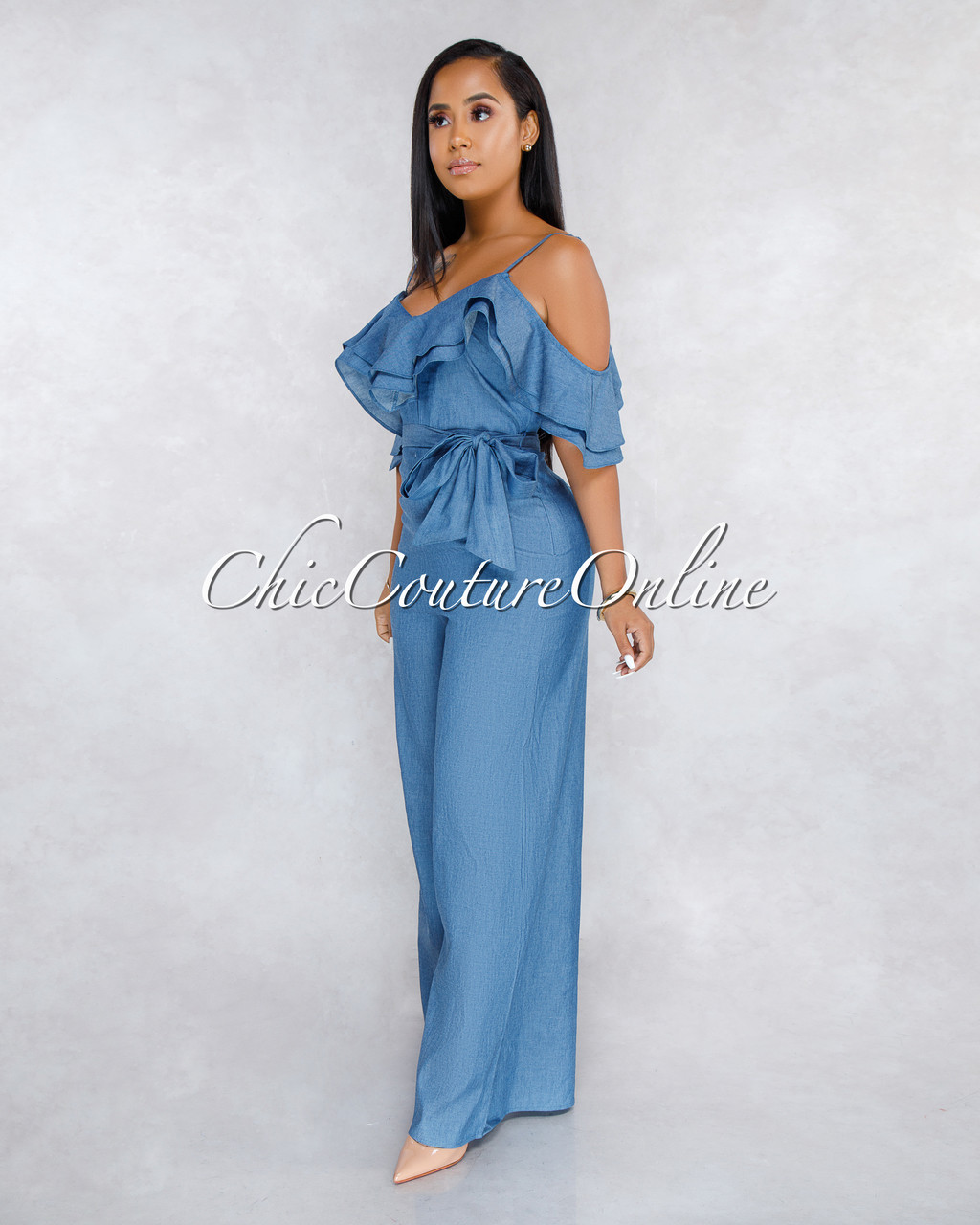 5a63217a82d2 Mejeane Dark Chambray Ruffle Cold Shoulder Jumpsuit. Price   50.00. Image  1. Larger   More Photos