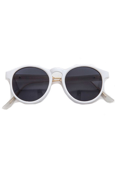 Rolly Oval White Sunglasses
